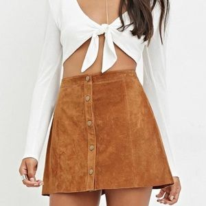 Forever 21 Suede Brown Mini Skirt Size 28